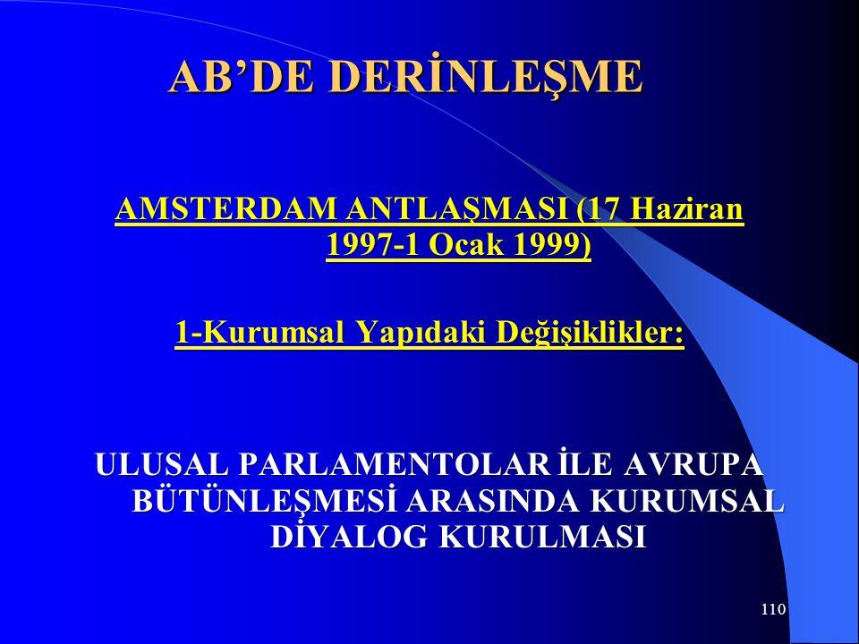 AB'DE DERİNLEŞME AMSTERDAM ANTLAŞMASI (17 Haziran 1997-1 Ocak 1999)