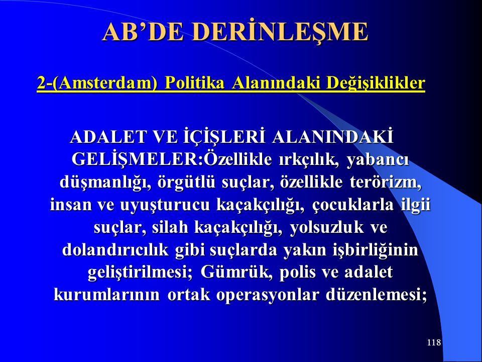 2-(Amsterdam) Politika Alanındaki Değişiklikler