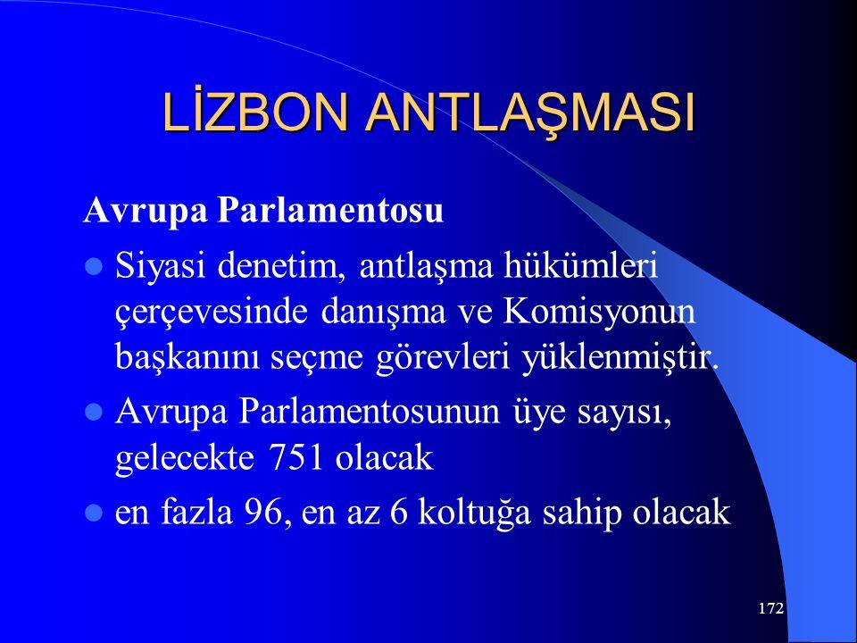 LİZBON ANTLAŞMASI Avrupa Parlamentosu