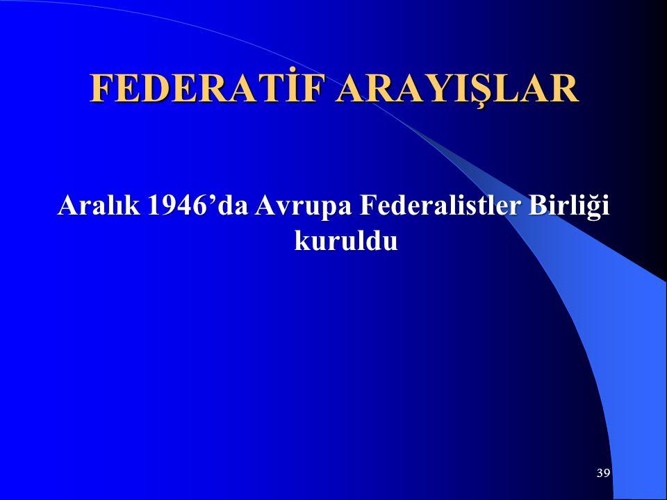 Aralık 1946'da Avrupa Federalistler Birliği kuruldu