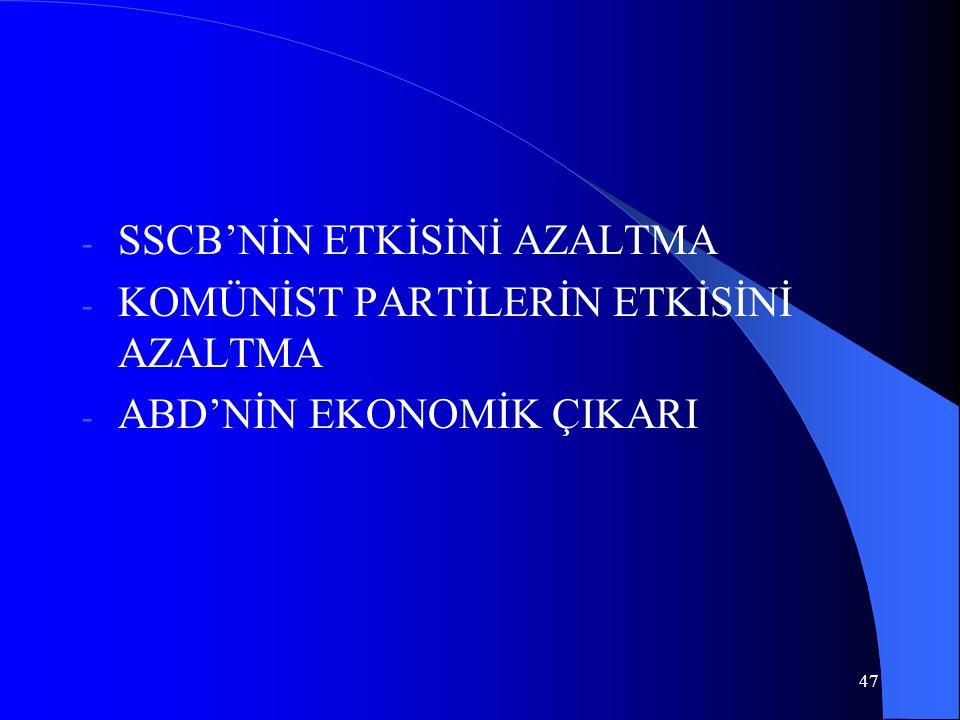 SSCB'NİN ETKİSİNİ AZALTMA