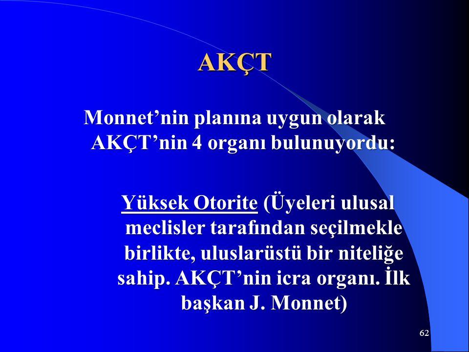 Monnet'nin planına uygun olarak AKÇT'nin 4 organı bulunuyordu: