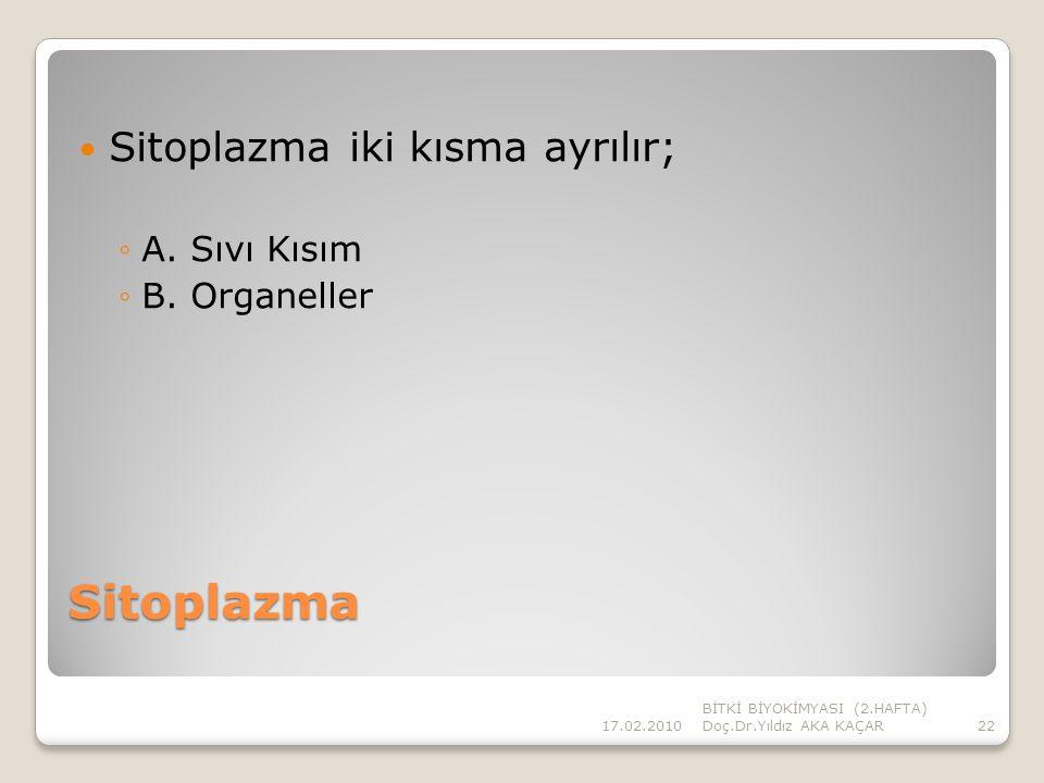 Sitoplazma Sitoplazma iki kısma ayrılır; A. Sıvı Kısım B. Organeller