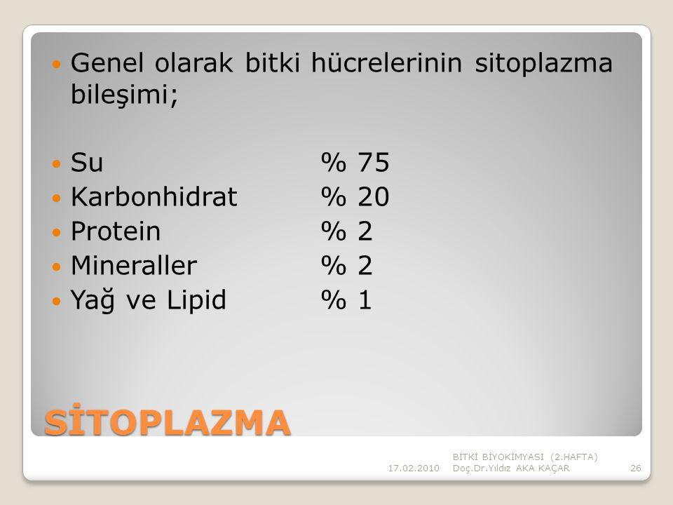 SİTOPLAZMA Genel olarak bitki hücrelerinin sitoplazma bileşimi;