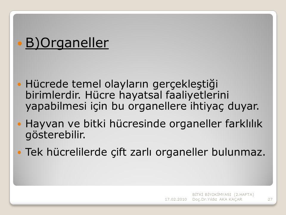 B)Organeller Hücrede temel olayların gerçekleştiği birimlerdir. Hücre hayatsal faaliyetlerini yapabilmesi için bu organellere ihtiyaç duyar.