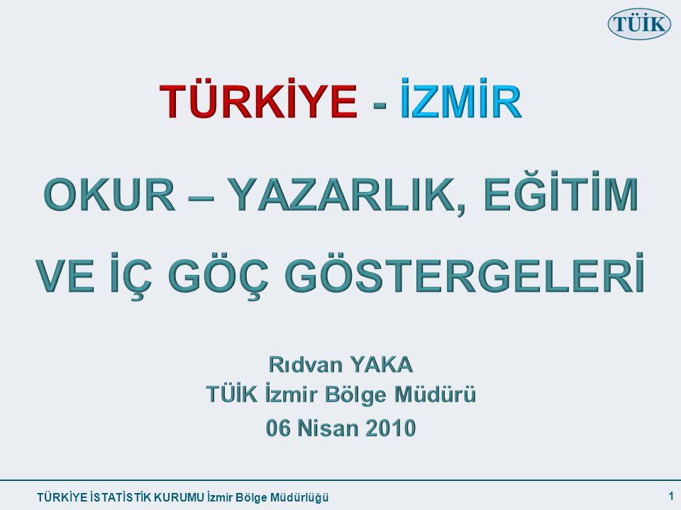 OKUR – YAZARLIK, EĞİTİM VE İÇ GÖÇ GÖSTERGELERİ TÜİK İzmir Bölge Müdürü