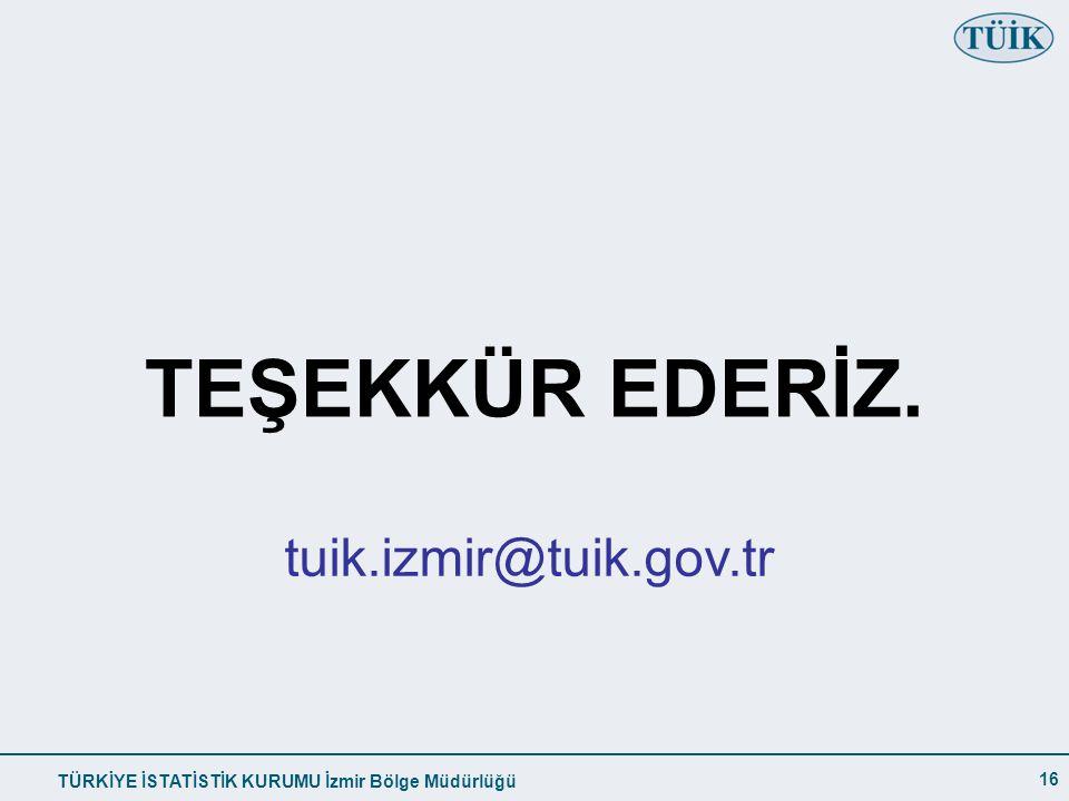 TEŞEKKÜR EDERİZ. tuik.izmir@tuik.gov.tr