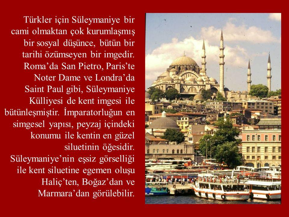 Türkler için Süleymaniye bir cami olmaktan çok kurumlaşmış bir sosyal düşünce, bütün bir tarihi özümseyen bir imgedir. Roma'da San Pietro, Paris'te Noter Dame ve Londra'da
