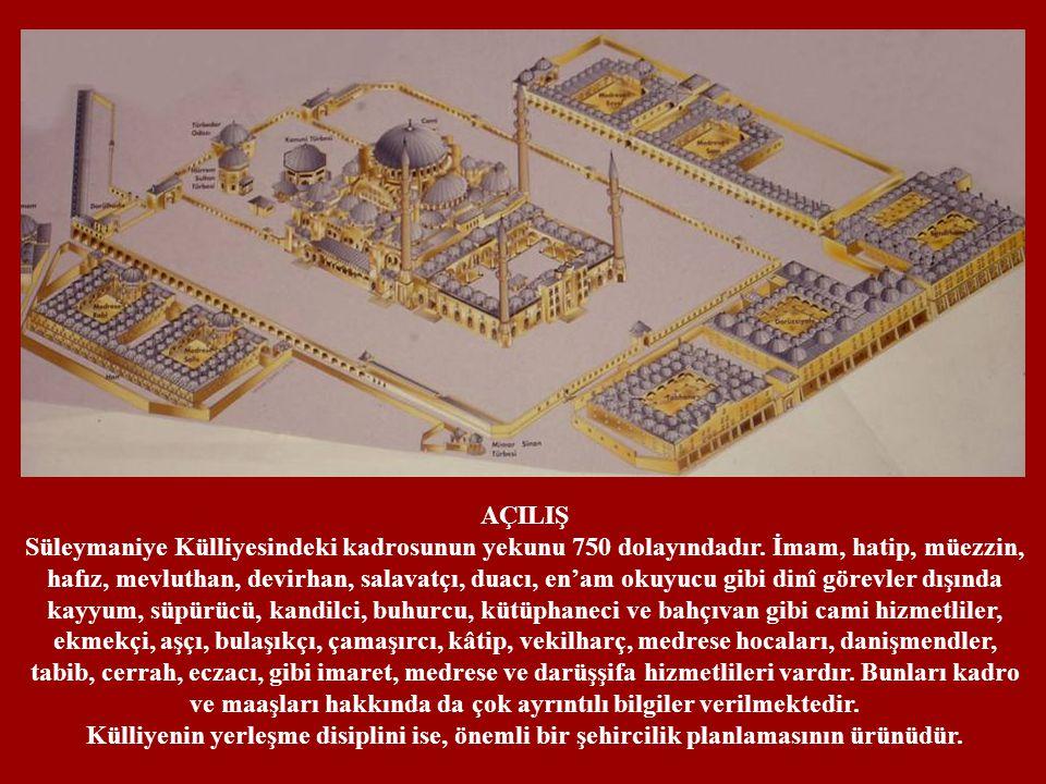 AÇILIŞ Süleymaniye Külliyesindeki kadrosunun yekunu 750 dolayındadır. İmam, hatip, müezzin,