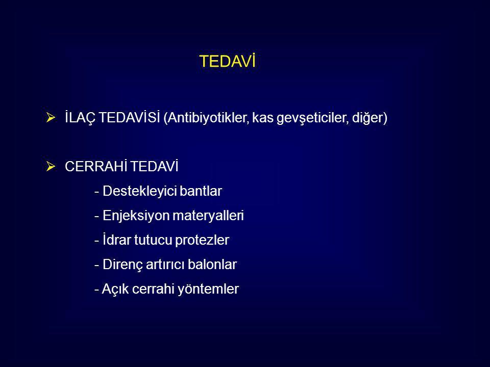 TEDAVİ İLAÇ TEDAVİSİ (Antibiyotikler, kas gevşeticiler, diğer)