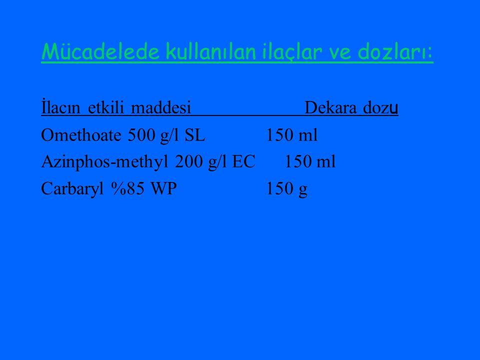 Mücadelede kullanılan ilaçlar ve dozları:
