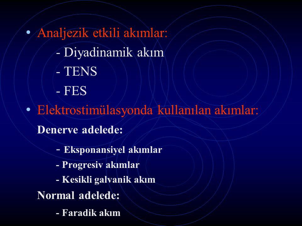 Analjezik etkili akımlar: - Diyadinamik akım - TENS - FES