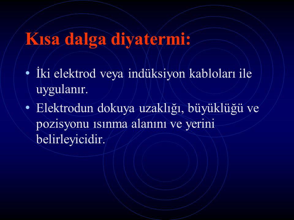 Kısa dalga diyatermi: İki elektrod veya indüksiyon kabloları ile uygulanır.