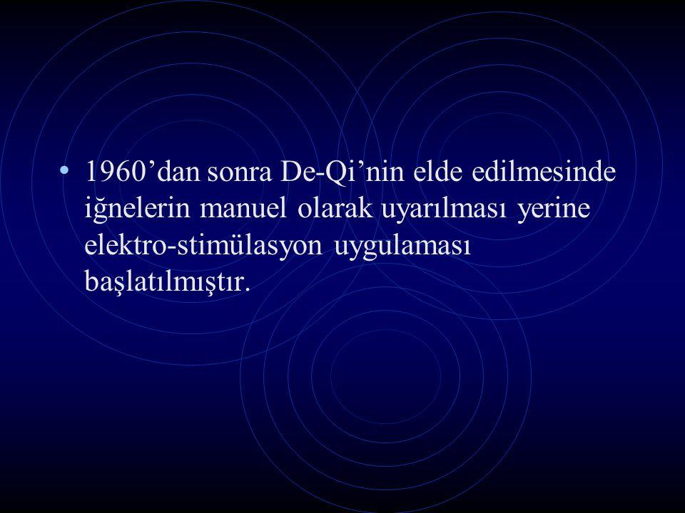 1960'dan sonra De-Qi'nin elde edilmesinde iğnelerin manuel olarak uyarılması yerine elektro-stimülasyon uygulaması başlatılmıştır.