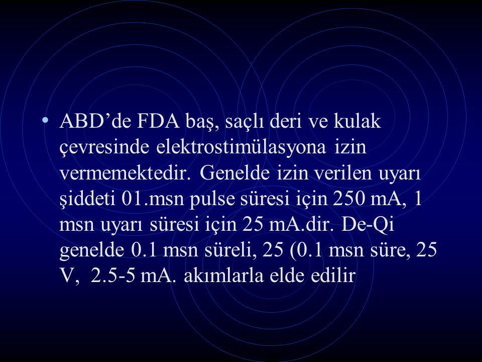 ABD'de FDA baş, saçlı deri ve kulak çevresinde elektrostimülasyona izin vermemektedir.