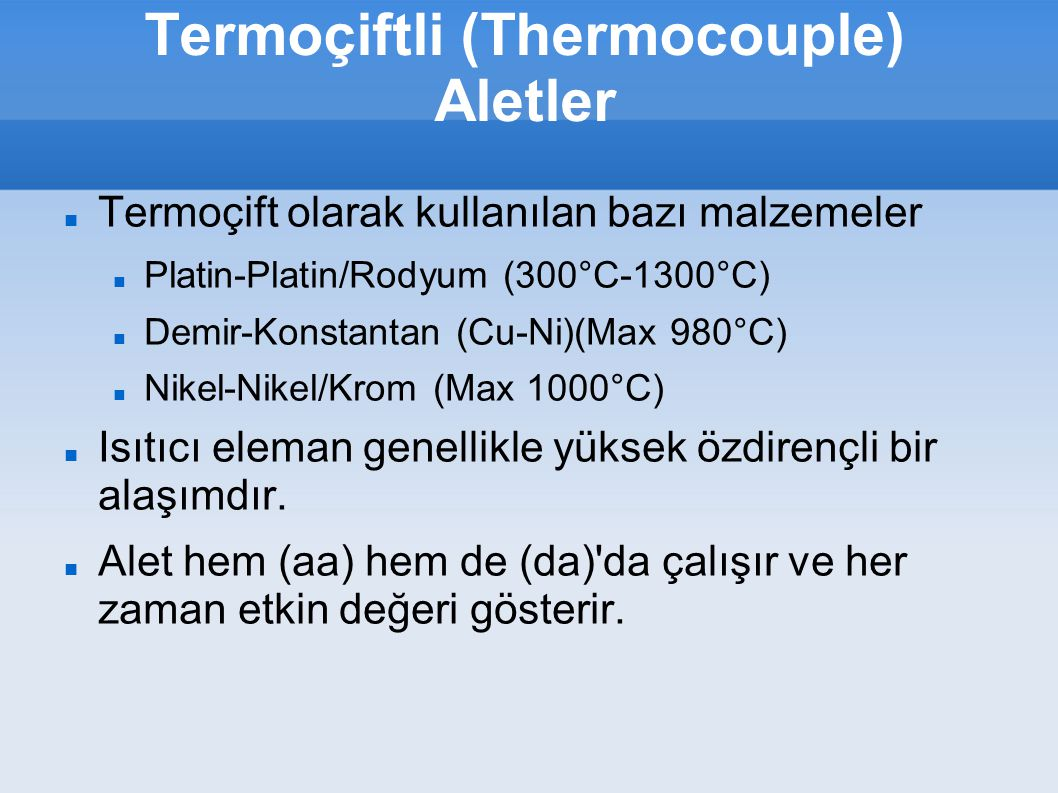 Termoçiftli (Thermocouple) Aletler
