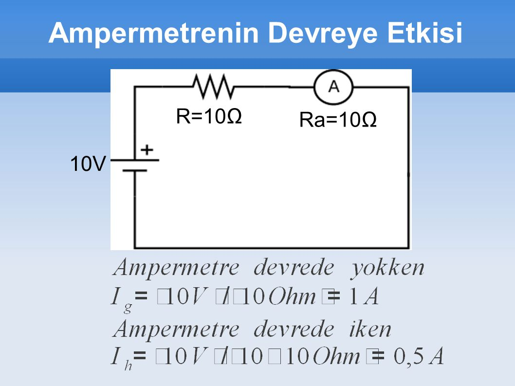 Ampermetrenin Devreye Etkisi