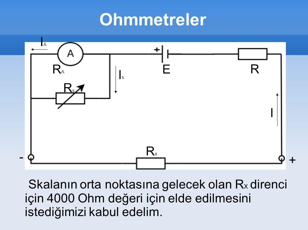 Ohmmetreler IA RA E R Is Rs I Rx - +