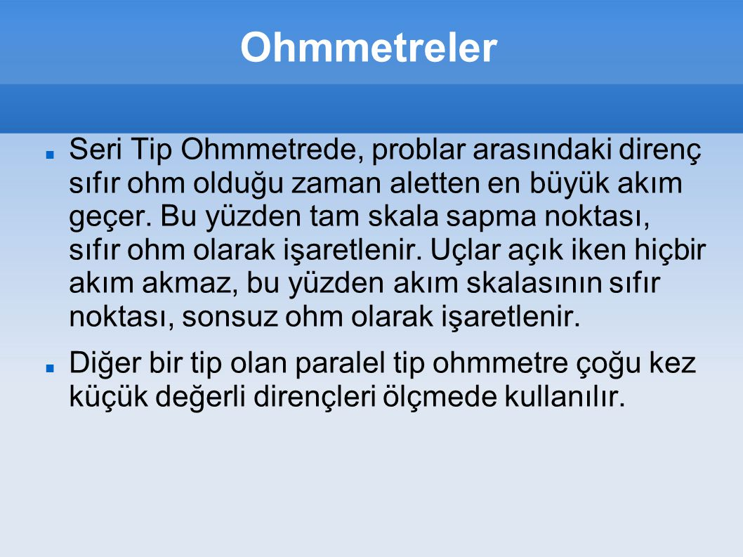 Ohmmetreler