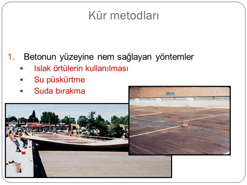 Kür metodları Betonun yüzeyine nem sağlayan yöntemler