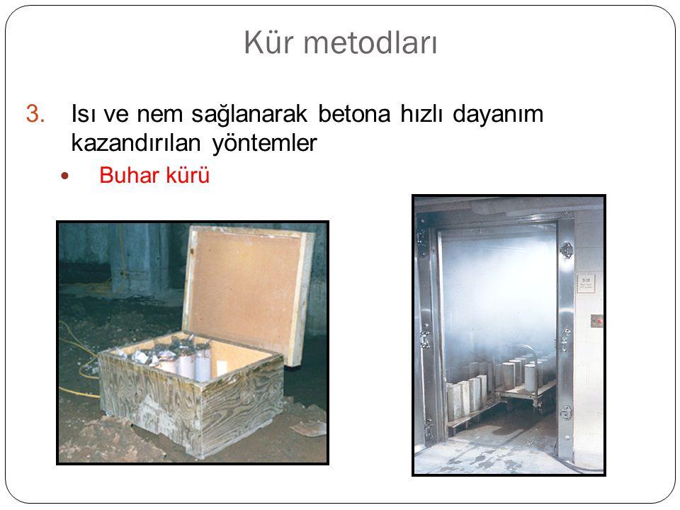 Kür metodları Isı ve nem sağlanarak betona hızlı dayanım kazandırılan yöntemler Buhar kürü