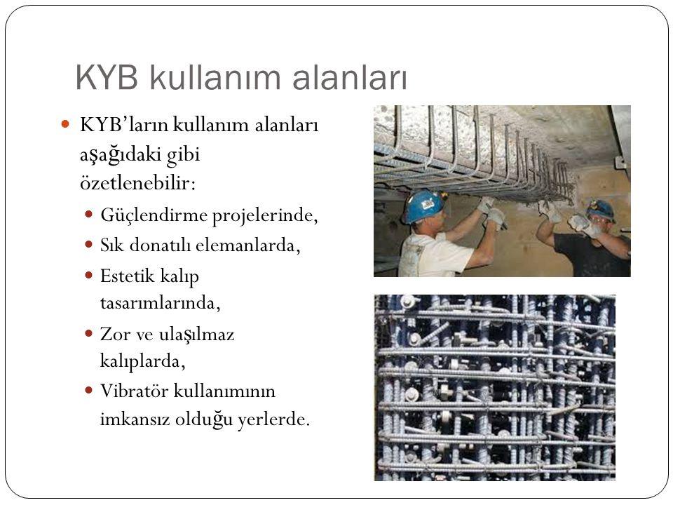 KYB kullanım alanları KYB'ların kullanım alanları aşağıdaki gibi özetlenebilir: Güçlendirme projelerinde,