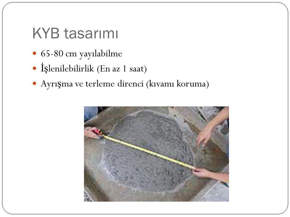 KYB tasarımı 65-80 cm yayılabilme İşlenilebilirlik (En az 1 saat)