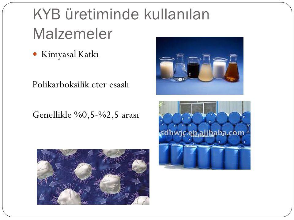 KYB üretiminde kullanılan Malzemeler