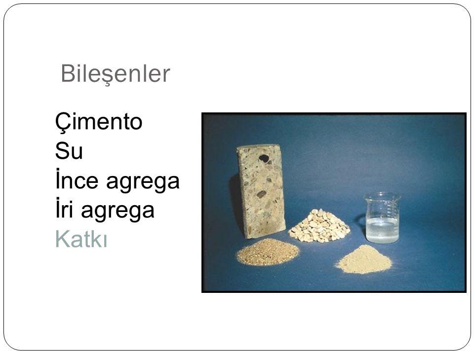 Bileşenler Çimento Su İnce agrega İri agrega Katkı