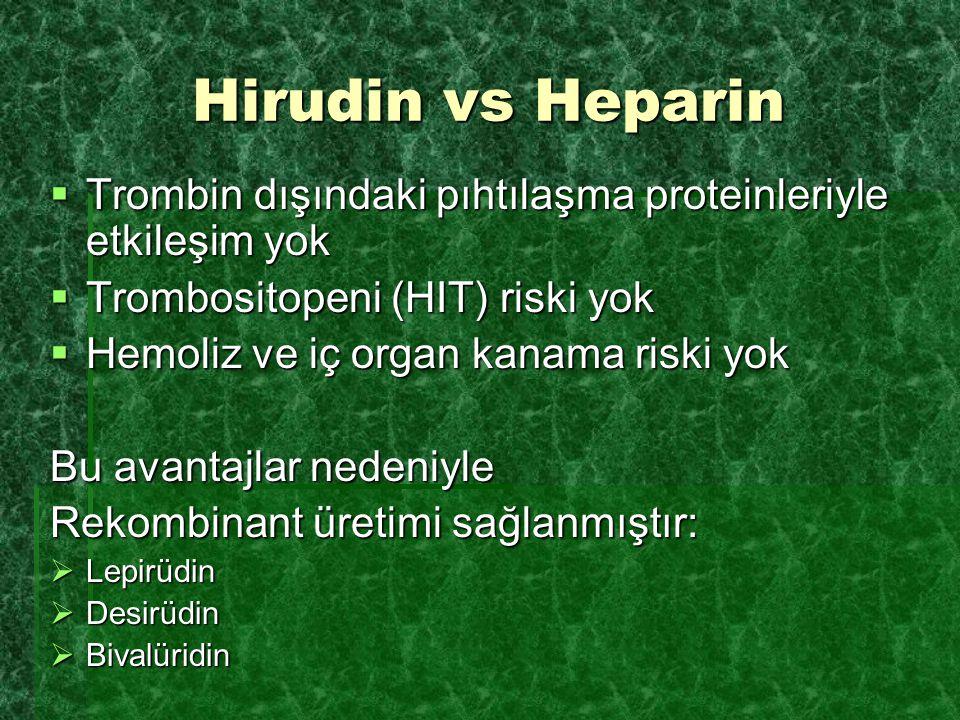 Hirudin vs Heparin Trombin dışındaki pıhtılaşma proteinleriyle etkileşim yok. Trombositopeni (HIT) riski yok.