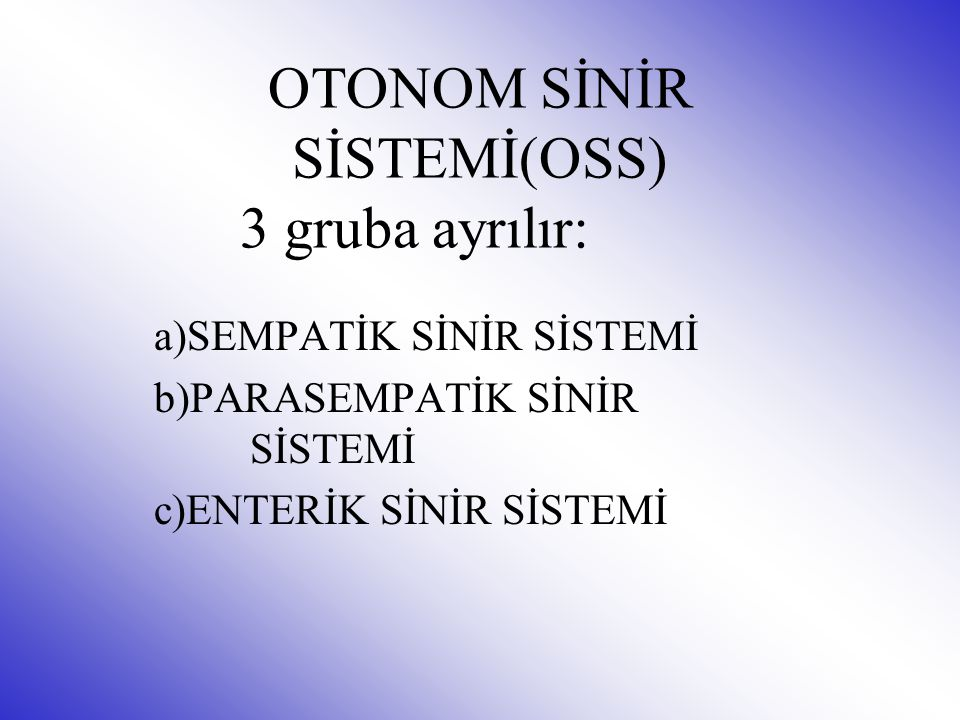 OTONOM SİNİR SİSTEMİ(OSS) 3 gruba ayrılır: