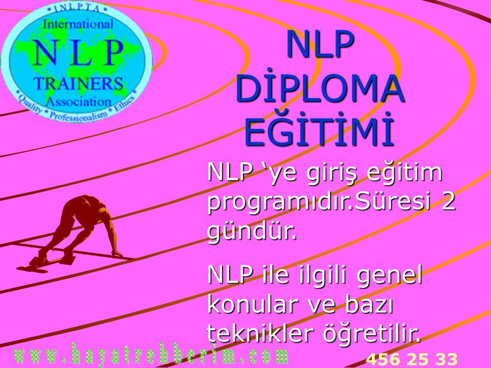 NLP DİPLOMA EĞİTİMİ NLP 'ye giriş eğitim programıdır.Süresi 2 gündür.