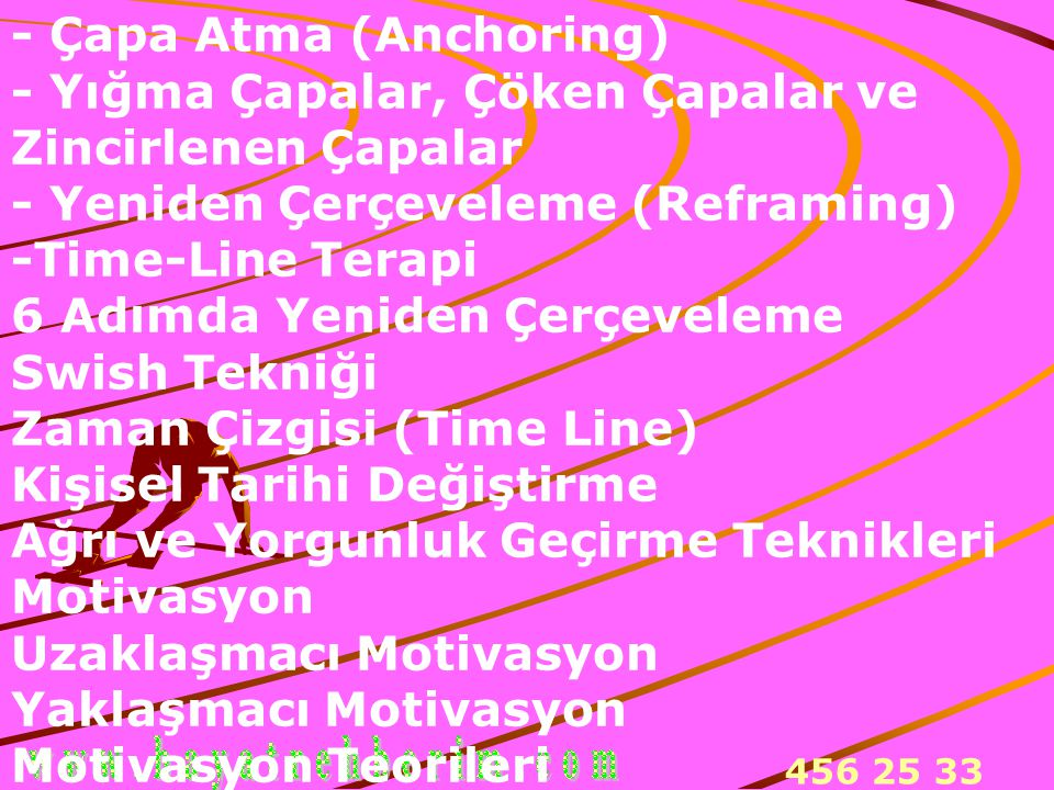 - Çapa Atma (Anchoring) - Yığma Çapalar, Çöken Çapalar ve Zincirlenen Çapalar - Yeniden Çerçeveleme (Reframing) -Time-Line Terapi 6 Adımda Yeniden Çerçeveleme Swish Tekniği Zaman Çizgisi (Time Line) Kişisel Tarihi Değiştirme Ağrı ve Yorgunluk Geçirme Teknikleri Motivasyon Uzaklaşmacı Motivasyon Yaklaşmacı Motivasyon Motivasyon Teorileri