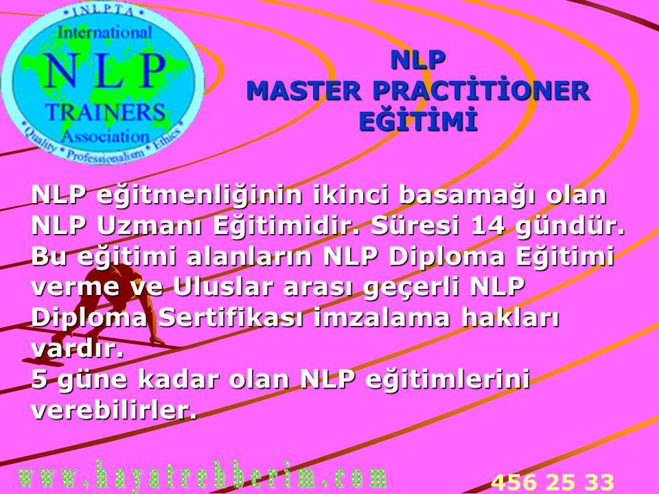 NLP MASTER PRACTİTİONER. EĞİTİMİ. NLP eğitmenliğinin ikinci basamağı olan. NLP Uzmanı Eğitimidir. Süresi 14 gündür.