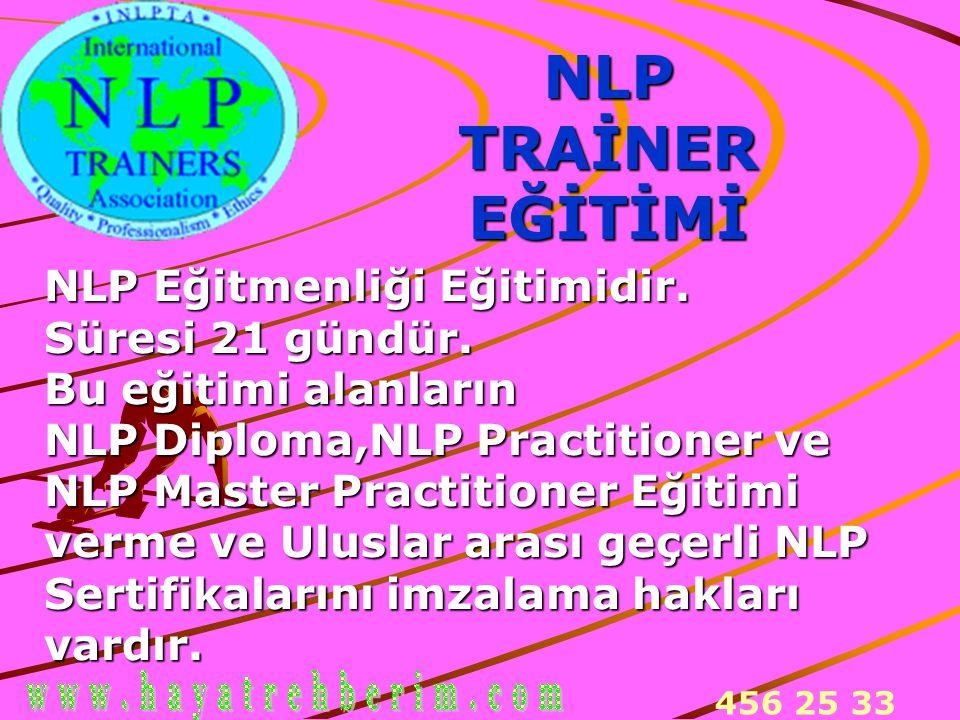 NLP TRAİNER EĞİTİMİ NLP Eğitmenliği Eğitimidir. Süresi 21 gündür.