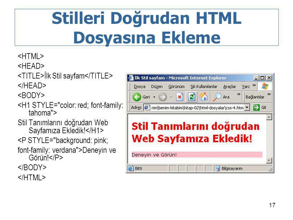 Stilleri Doğrudan HTML Dosyasına Ekleme