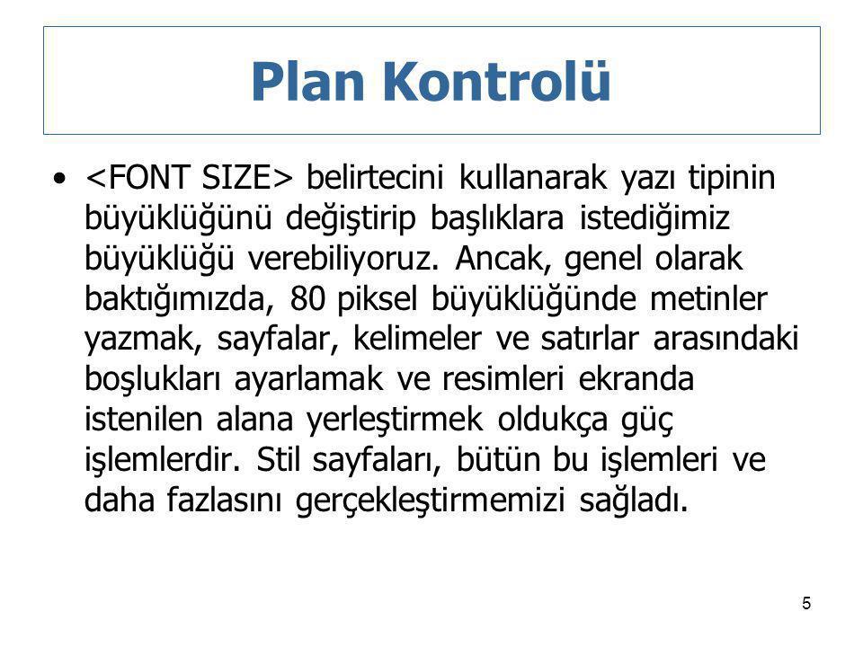 Plan Kontrolü