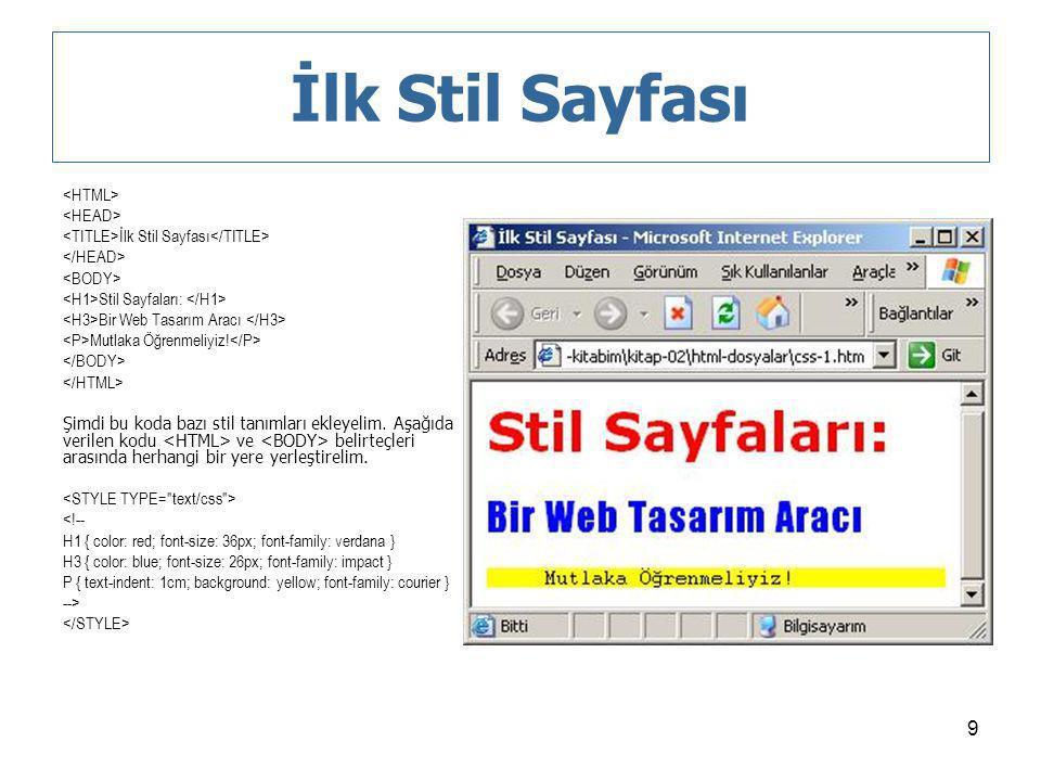 İlk Stil Sayfası <HTML> <HEAD>