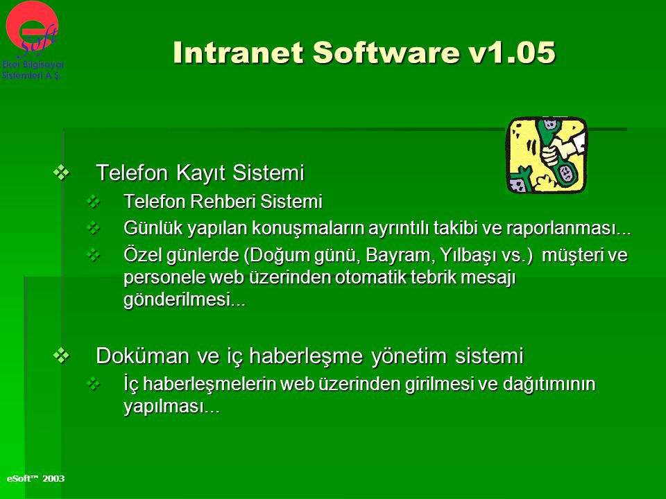 Intranet Software v1.05 Telefon Kayıt Sistemi