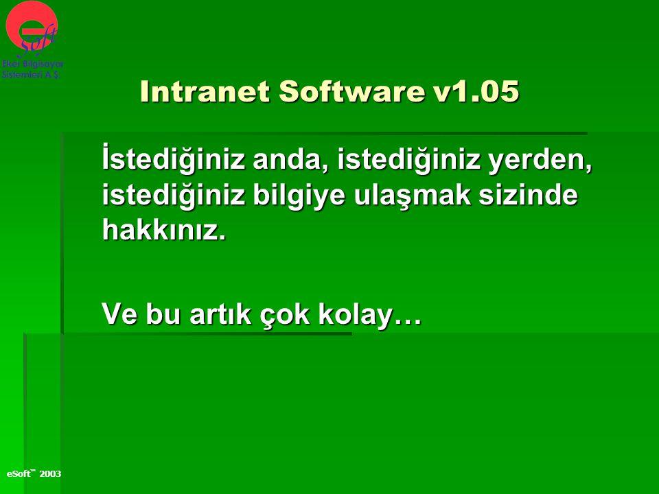 Intranet Software v1.05 İstediğiniz anda, istediğiniz yerden, istediğiniz bilgiye ulaşmak sizinde hakkınız.
