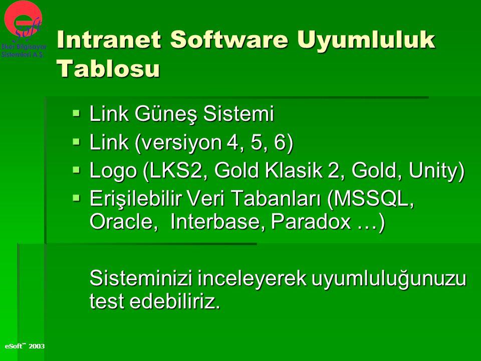 Intranet Software Uyumluluk Tablosu