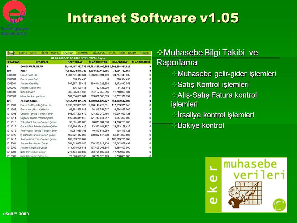 Intranet Software v1.05 Muhasebe Bilgi Takibi ve Raporlama
