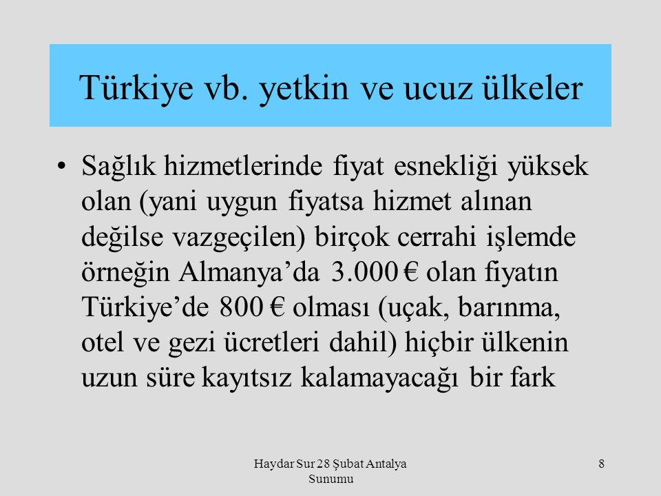Türkiye vb. yetkin ve ucuz ülkeler
