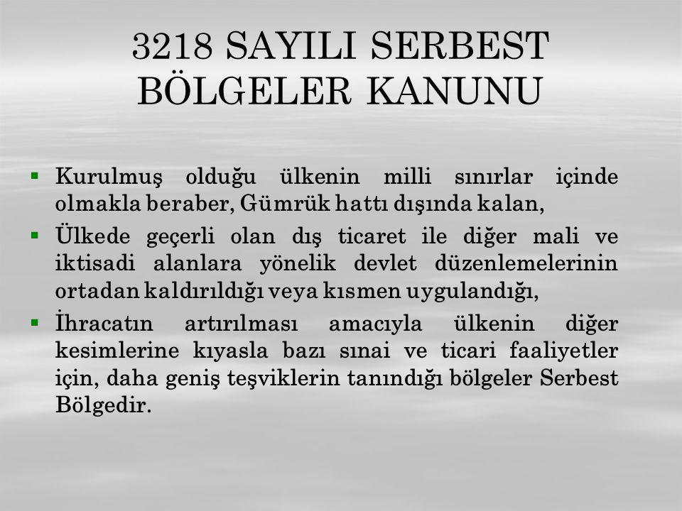 3218 SAYILI SERBEST BÖLGELER KANUNU