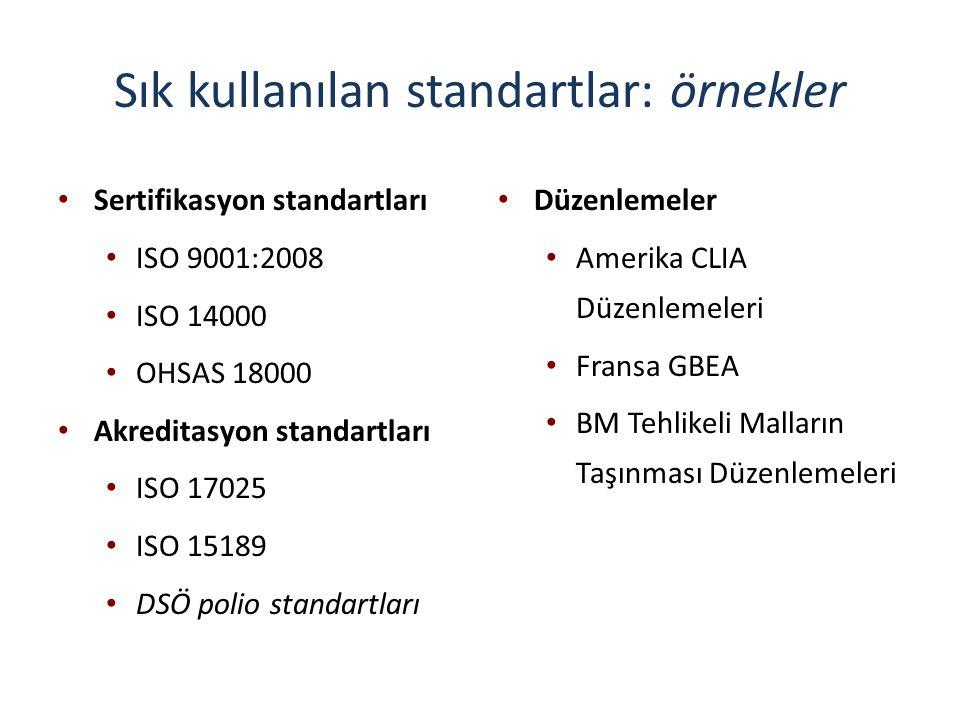 Sık kullanılan standartlar: örnekler