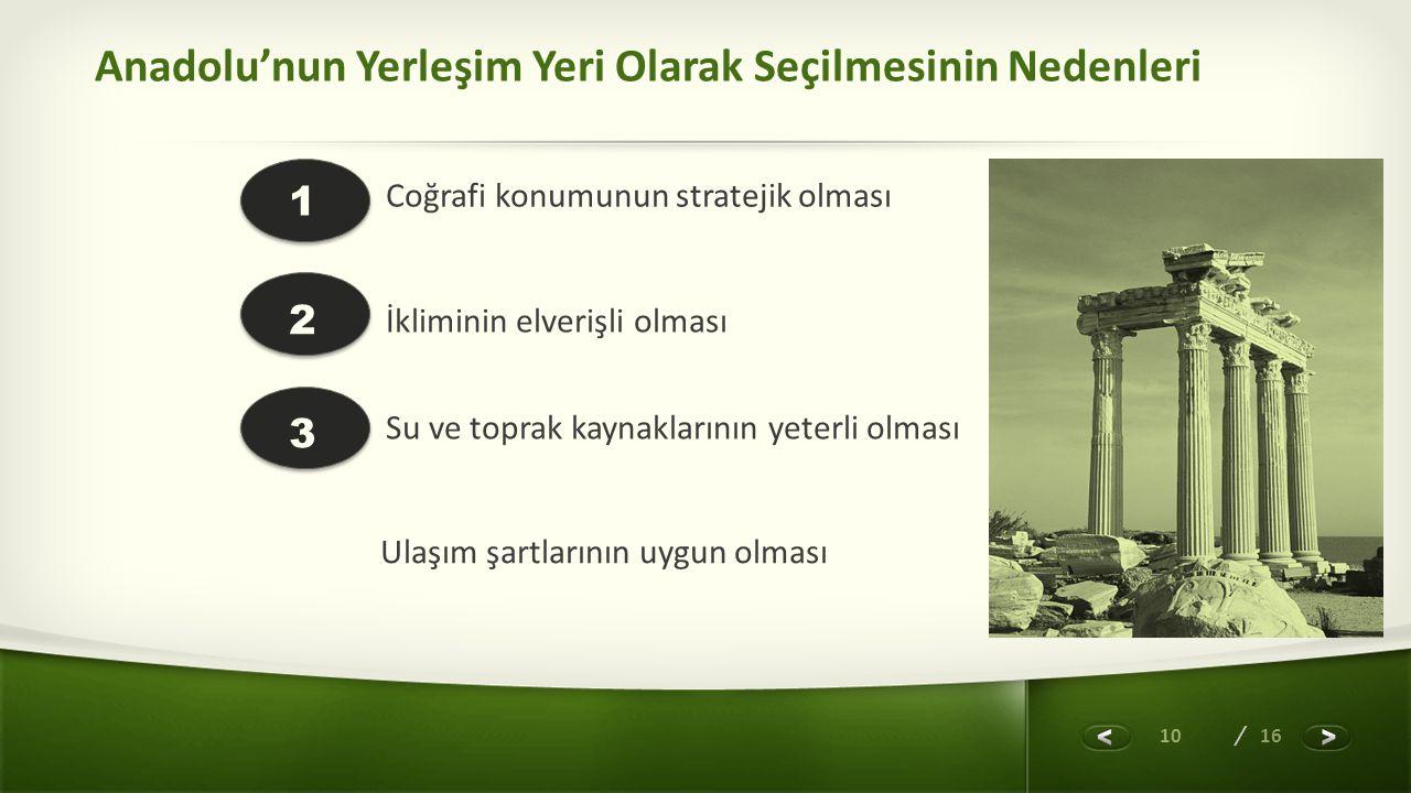 Anadolu'nun Yerleşim Yeri Olarak Seçilmesinin Nedenleri