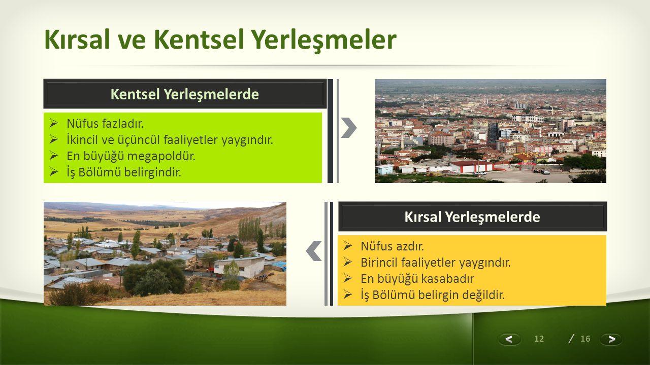 Kırsal ve Kentsel Yerleşmeler
