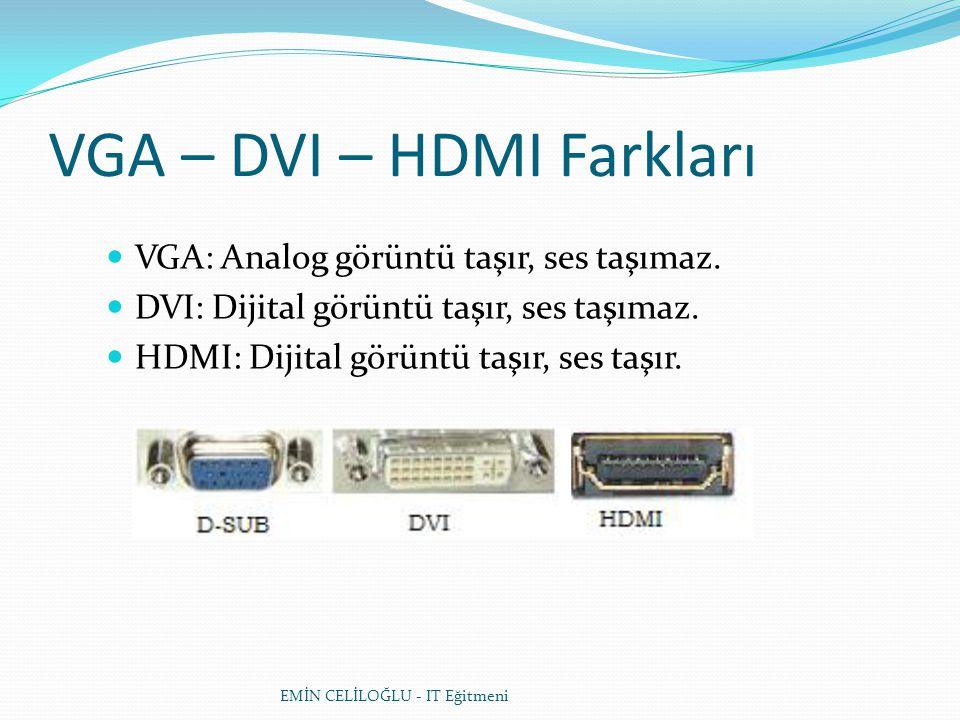 VGA – DVI – HDMI Farkları