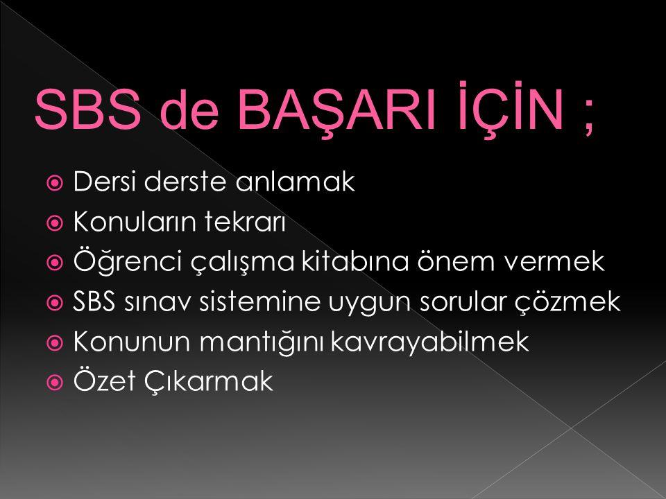 SBS de BAŞARI İÇİN ; Dersi derste anlamak Konuların tekrarı
