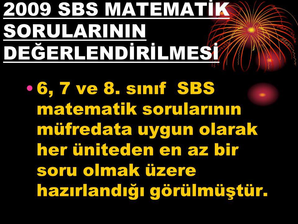 2009 SBS MATEMATİK SORULARININ DEĞERLENDİRİLMESİ
